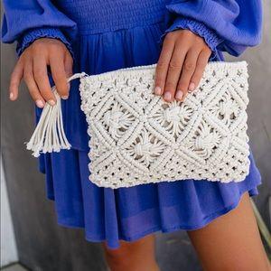 Handbags - Portia Woven Tassel Clutch